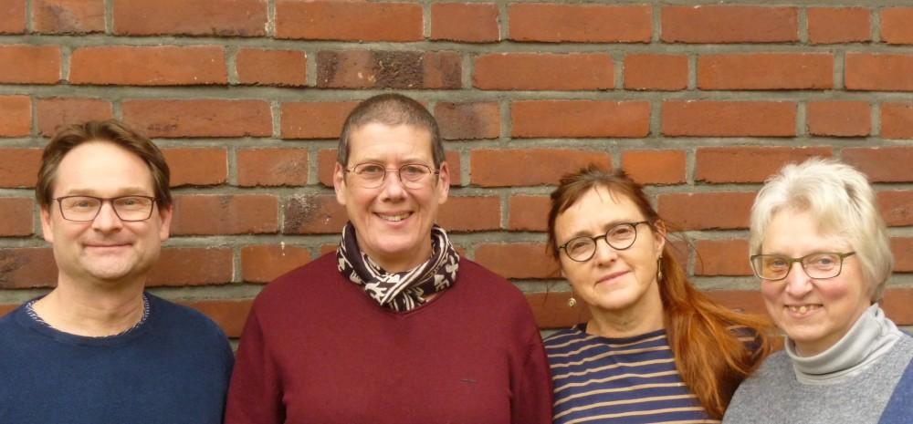 Neuer Vorstand 2020 mit Jiun Hogen Roshi, von links: Frank Richter, Jiun Hogen Roshi, Susanne Backner und Maria Fröhlich